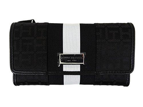 - Tommy Hilfiger Women's Clutch Checkbook Wallet (Black Dot Logo/White Stripe)