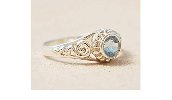 Sterling Silver Ring Anniversary Gift For Her March Birthstone Teardrop Aquamarine Ring Engagement Ring Blue Gemstone Promise Ring