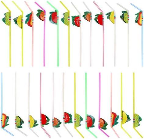 HEALLILY 100 Stks Wegwerp Rietjes Plastic Rietjes Decoratieve Rietjes Voor Verjaardag Baby Shower Bruiloft Diner Diner Gemengde Kleur