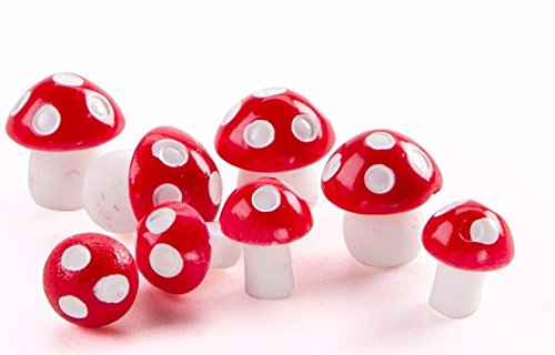 Mushrooms Red & White set 8 DA 161537 Miniature Fairy Garden Terrarium