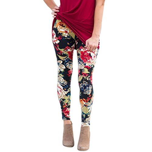 GBSELL New Women Lady Pretty Printed Stretchy Pants Leggings Sport Casual (Floral, L)