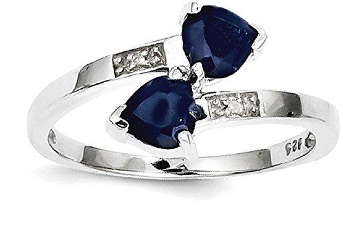 Diamond & Sapphire Heart Ring - 5