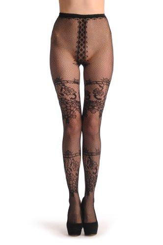 Two Wide Lace Stripes With Flowers Lace Footless - Noir Collant Sans Pied (Leggings) Taille Unique (34-42)