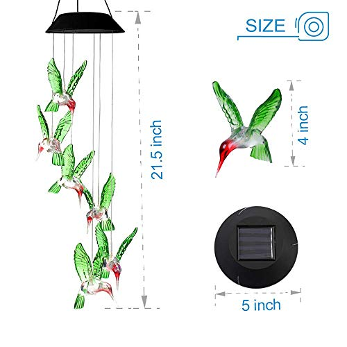 ZOUTOG Solar String Lights, Color Changing LED Mobile Hummingbird Wind Chimes, Waterproof Outdoor Solar Lights for Home/Yard/Patio/Garden by ZOUTOG (Image #2)