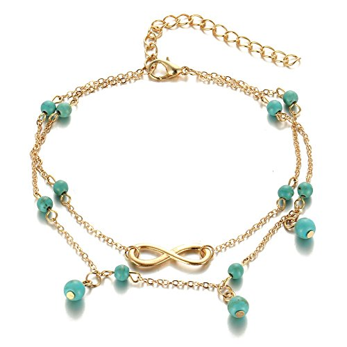 14KT Gold Plated Turquoise Accent Infinity Anklet (Yellow) Ankle Accent