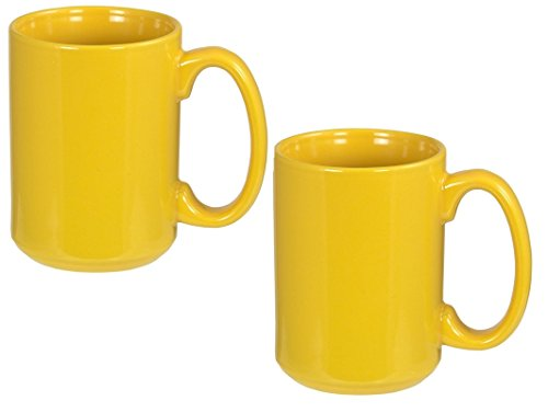 El Grande Style Large Ceramic Coffee Mug With Big Handle, Yellow 15 oz. (Pack of 2)