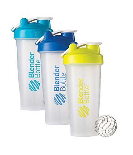 28 Oz. Hook Style Blender Bottle W/ Shaker Bundle-Clear Aqua/Blue/Green