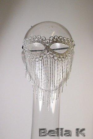 Bijoux strass argenté Masque Visage Déguisement Soirée /Cabaret