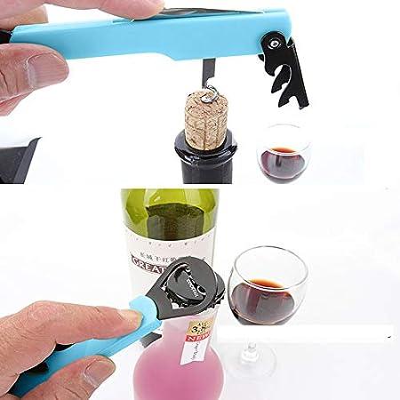 IKAAR - Sacacorchos para camareros, abrebotellas de vino multifunción 4 en 1, abrebotellas de vino de acero inoxidable, abrebotellas de cerveza y cortador de papel de aluminio, color azul