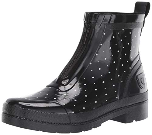 Tretorn Women's LINAZIP Rain Boot, Black/White, 9 M US