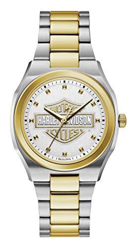 Davidson White Bracelet Harley (Harley-Davidson Women's Bar & Shield Silver & Gold Stainless Steel Watch 78L129)