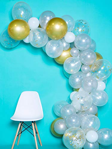 Fdceligoo 100 Pieces Balloon Garland Kit Balloon Arch Garland for Birthday Wedding Baby Shower Party Decorations (Chrome Gold Confetti, Metal Latex, Pearl White and Silver)