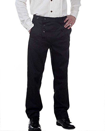 Victorian Costumes For Men (Steampunk Victorian Costume Architect Pants Trousers -Black (medium))