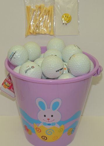 Purple Easter Pail With 48 Recycled Wilson Golf Balls & Tee's & Smiley Face Magnetic Golf Ball Marker With Hat Clip