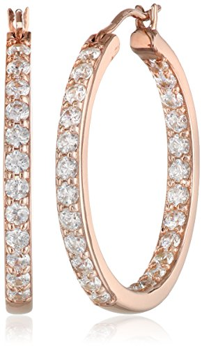 Rose Gold Plated Sterling Silver Inside-Out Hoop Earrings set with Swarovski Zirconia (3 cttw)