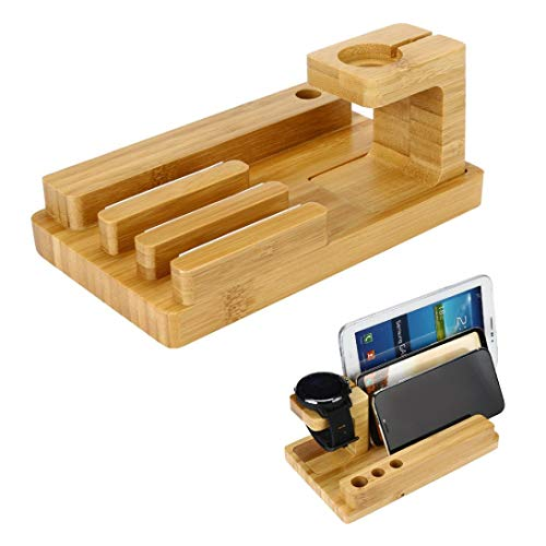 Bamboo Wood Charging Station Organizer,Cocal Stand Dock Multi Device Organizer for iPhone and Most Smartphones (A) by Cocal (Image #1)