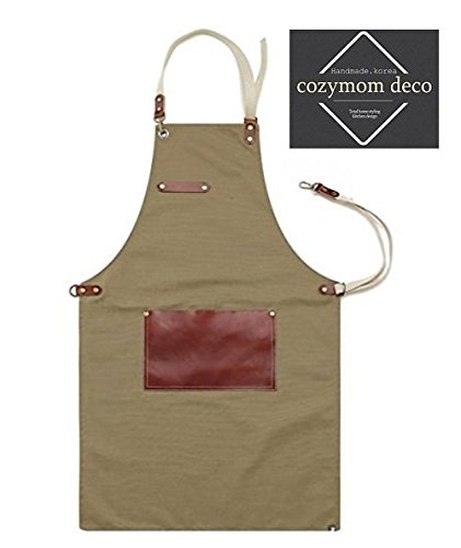 Premium Gift for Woman and Man Chef Works Handmade Apron Japanese Cross Back - Leaf Real Cow Leather Apron Beige by cozymomdeco