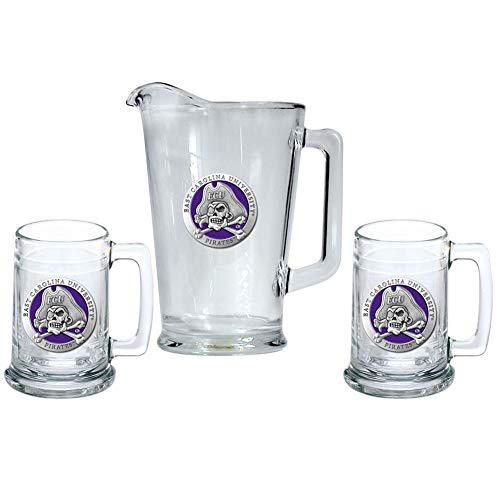 Heritage Metalwork ECU East Carolina University Pitcher and 2 Stein Glass Set Beer Set