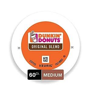 Dunkin' Donuts Original Blend Medium Roast Coffee, 60 K Cups for Keurig Coffee Makers