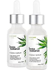 Vitamin C Serum Duo - 100 Days of Age Defying Benefits, With Hyaluronic Acid & Vitamin E, Brighten & Defend, Anti-Aging, Wrinkle Reducer & Sun Damage Corrector - InstaNatural - 2 Pack