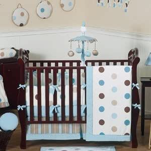 Amazon.com : Blue and Brown Modern Polka Dot Baby Bedding ...