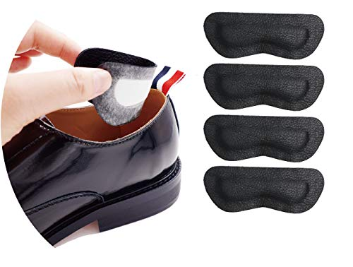 Premium Leather Heel Pads Grips Liners Inserts for Shoes Too Big,Unisex Prevent blisters,Shoe Filler Improved Shoe Fit and Comfort, 2 Pair0.28inch Thick(Black)