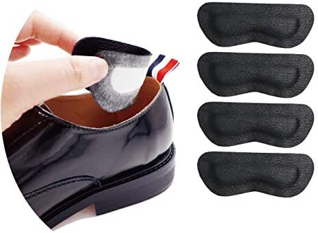 Premium Leather Heel Pads Grips Liners Inserts for Shoes Too Big,Unisex Prevent blisters,Shoe Filler Improved Shoe Fit and Comfort, 2 Pair Black(0.35inch Thick)