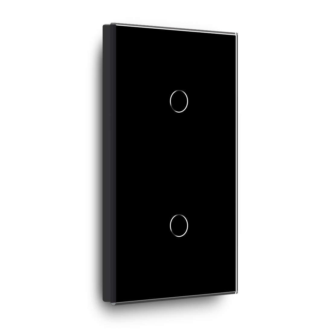 86mm 1 Gang 1 Way Negro BSEED Toque el interruptor de la luz de la pared y el panel de vidrio del interruptor m/ás oscuro 157mm