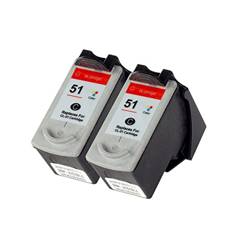 ALL-INK-TONER Remanufactured Canon CL51 CL-51 [2 Pack] Color Ink Cartridge w/ Auto-Reset Ink - Color 51 Capacity High Cl