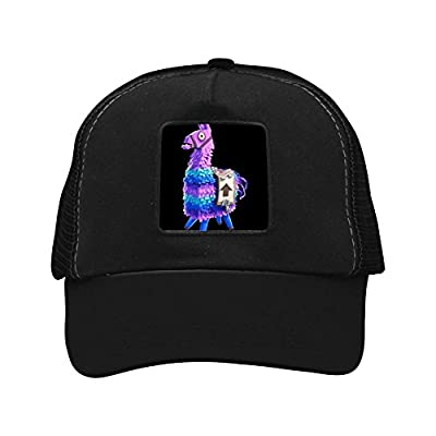 CAHAFun Unisex Adults Purple No Prob Llama Snap Back Trucker Hat Mesh Cap