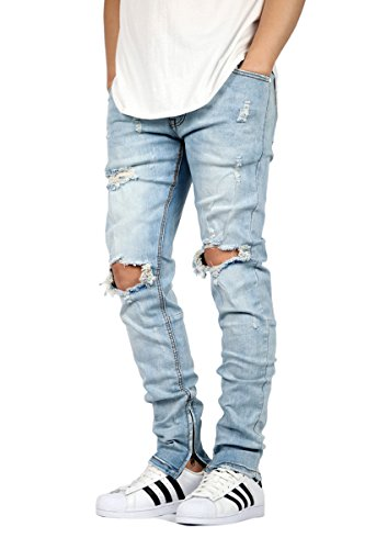 New Mens Knee Destroyed Ankle Zip Jeans - 5 Colors