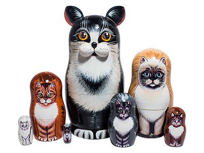 Black & White Cat Russian Nesting Doll 7pc./7'' by Golden Cockerel (Image #3)