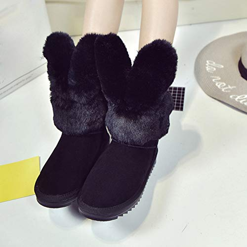 Ankle Rabbit Stylish Snow Warm Shoes Boot Black Women Winter Boots Ears Plush Foldable Womens HZqw6w