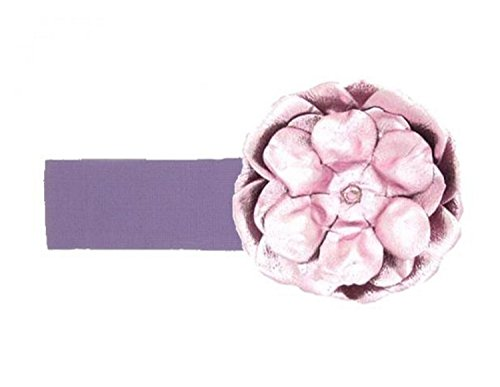 Jamie Rae Hats Lavender Soft Headband with Metallic Pale Pink Rose, Size: 0-12m
