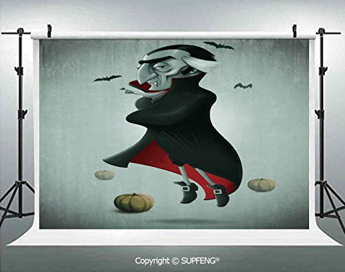 Photo Backdrop Creepy Halloween Night Pumpkins and Old Vampire with Cape Flying Bats 3D Backdrops for Interior Decoration Photo Studio Props -