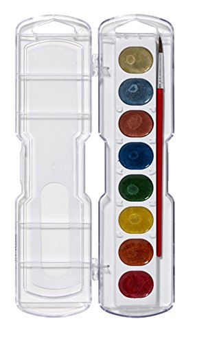 Prang Washable Watercolor Set, 8 Metallic Colors with Brush, Assorted Colors (80516)