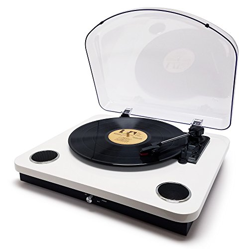 Photive Spin Vinyl Record Player with Built-in Speakers | 3-Speed Stereo USB Turntable Supports Vinyl to MP3 Recording | Bluetooth and RCA Connectivity (Piano White) by Photive (Image #3)