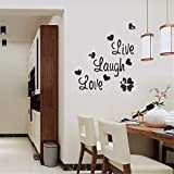 Personality Fashion Interior Mirror/Live Love Laugh Butterfly English Alphabet Bedroom Living Room Decorative Mirror Wall Stickers,Black