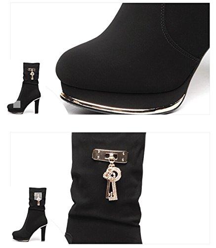 Meijili ,  Damen Plateau Black 10cm Heel