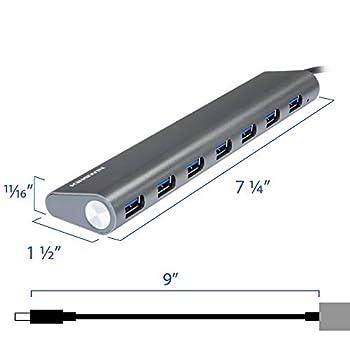 Kingwin 7-Port USB 3.0 Hub Aluminum Portable Data Hub for MacBook, Mac Pro/Mini, iMac, Chromebook, Surface Pro, USB Flash Drives, Notebook PC, XPS, Mobile SSD, with 5V/4A Adapter