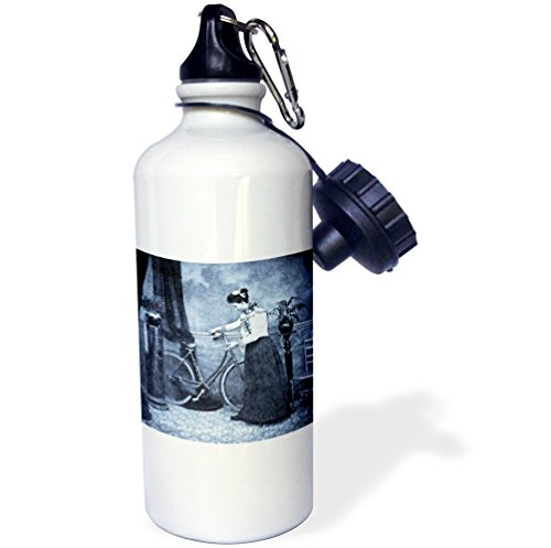 "3dRose wb_16134_1 ""How Awfully Sweet! Vintage Victorian Lady and Her Bike Cyan"" Sports Water Bottle, 21 oz, White"