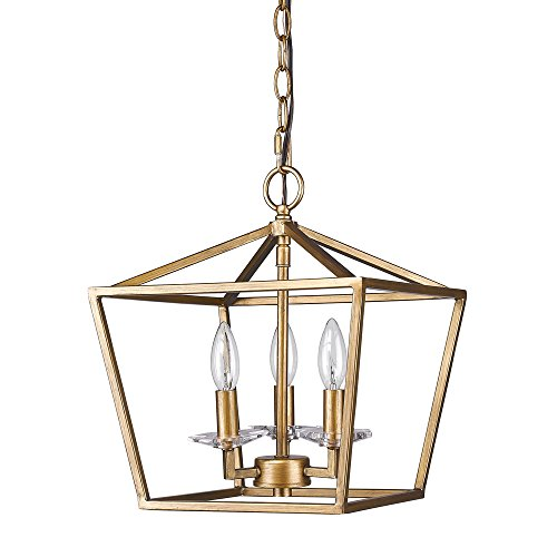 Acclaim Lighting IN11131AG Kennedy Indoor 3-Light Pendant with Crystal Bobeches, Antique Gold