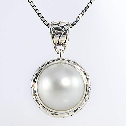 Bali carving handmade 925 sterling silver pearl pendant and 13 mm white mabe cultured pearl, beautiful round-shaped white mabe pearl pendant, 8 mm drop length