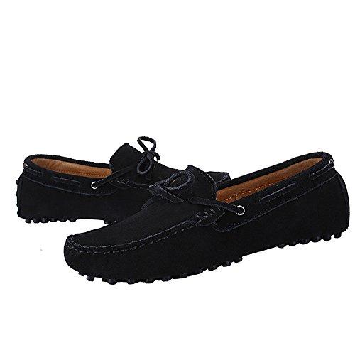 Shenn Homme Conduire Une Voiture Glisser Sur Confort Suède Mocassins Chaussures 3660 Noir qw1MkzVgU