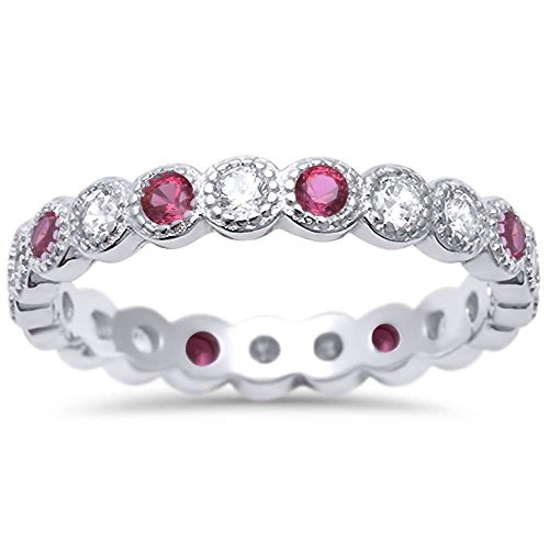 Simulated Ruby & Cz Antique Style Bezel Set Eternity Stackable .925 Sterling Silver Ring Sizes 9