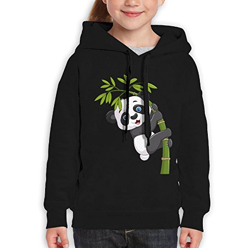 Bruins Piggy Bank (Grass8 Cartoon Panda Climbing The Tree Youth Custom Hoodie 100% Cotton Fashion Keep Warm Sweatshirt Hooded Pullover For Girls & Boys XL Black)