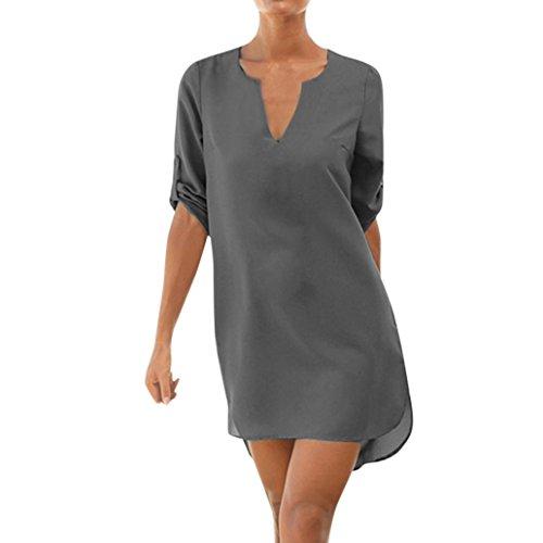 Corto Noche de Señora Playa Gris Vestido de Sexy Amlaiworld Vestido de Cóctel de Vestido Verano Mujer wBq0F