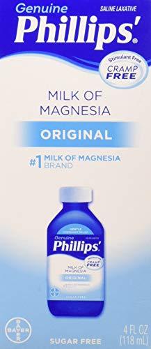 - Philips' Milk of Magnesia Saline Laxative Original Sugar Free, 4 oz