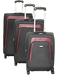 Dejuno Conductor 3-Piece Expandable Spinner Luggage Set, Black