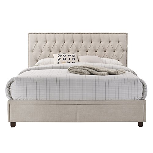 Beige Upholstered All in One Tufted Queen Storage Bed DS-D187-295-641